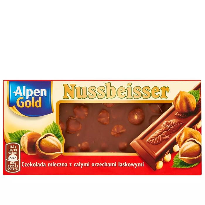 Czekolada mleczna z orzechami Nussbeisser Alpen Gold 100g