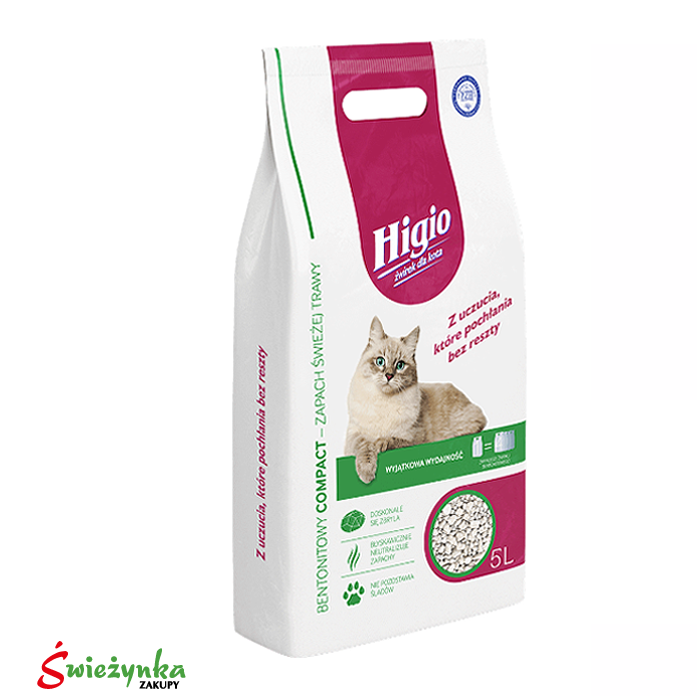 Żwirek dla kota Zapach Świeża Trawa Higio 5L